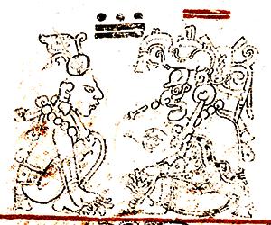 Výřez z Drážďanského kodexu, str. 9