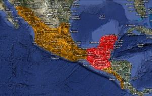 Mapa území říše starých Mayů