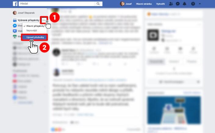 V levém sloupci u položky Vybrané příspěvky skrze tři tečky rozbalte menu a klikněte na Upravit předvolby.